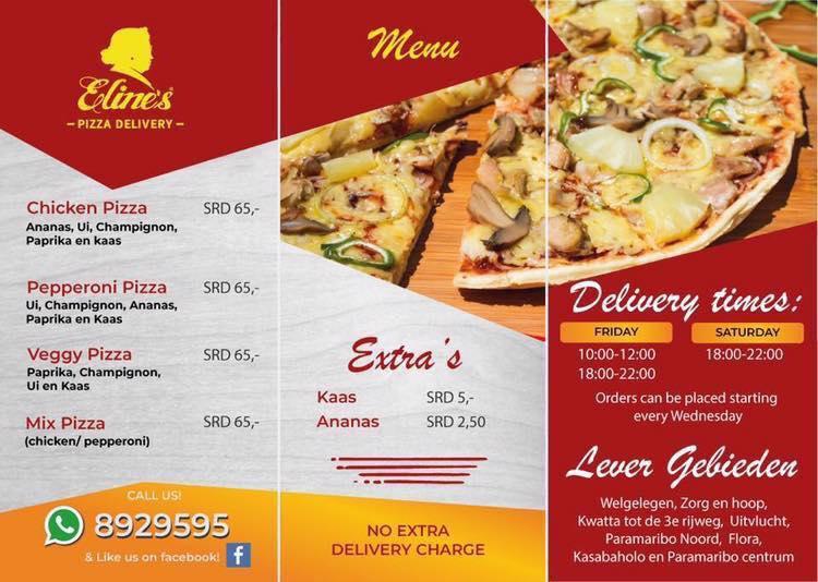 Eline's Pizza Menu Suriname